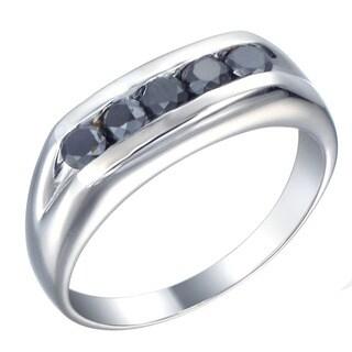 Sterling Silver 8/10 Ct TDW Men's Five Stone Black Diamond Ring