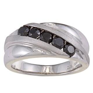 Sterling Silver 1 1/2ct TDW Men's Five Stone Black Diamond Ring