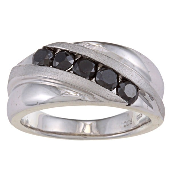 Sterling Silver 1 1/2ct TDW Men's Five Stone Black Diamond Ring