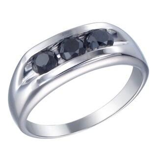 Sterling Silver 1 1/3c TDW Men's Three Stone Black Diamond Ring