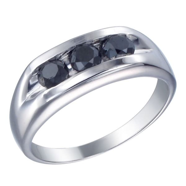 Sterling Silver 1 1/3c TDW Men's Three Stone Black Diamond Ring
