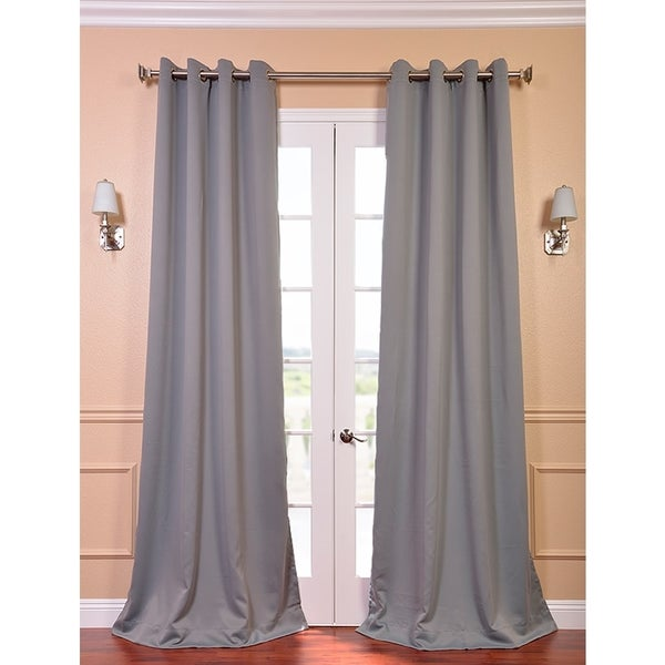 Exclusive Fabrics Grey Thermal Blackout 84-inch Curtain Panel Pair
