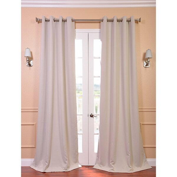 Exclusive Fabrics Beige Thermal Blackout 84-inch Curtain Panel Pair