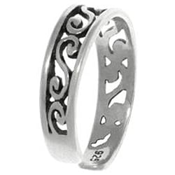 Carolina Glamour Collection Filigree Design Sterling Silver Adjustable Toe Ring - Thumbnail 1