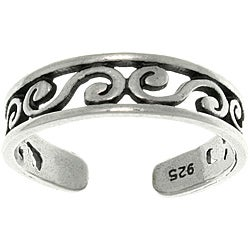 Carolina Glamour Collection Filigree Design Sterling Silver Adjustable Toe Ring