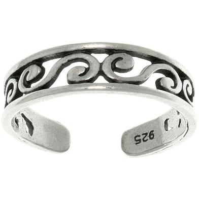 Filigree Design Sterling Silver Adjustable Toe Ring