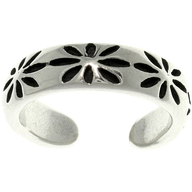 Carolina Glamour Collection Thick Starburst Sterling Silver Adjustable Toe Ring