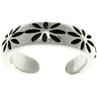 Thick Starburst Sterling Silver Adjustable Toe Ring