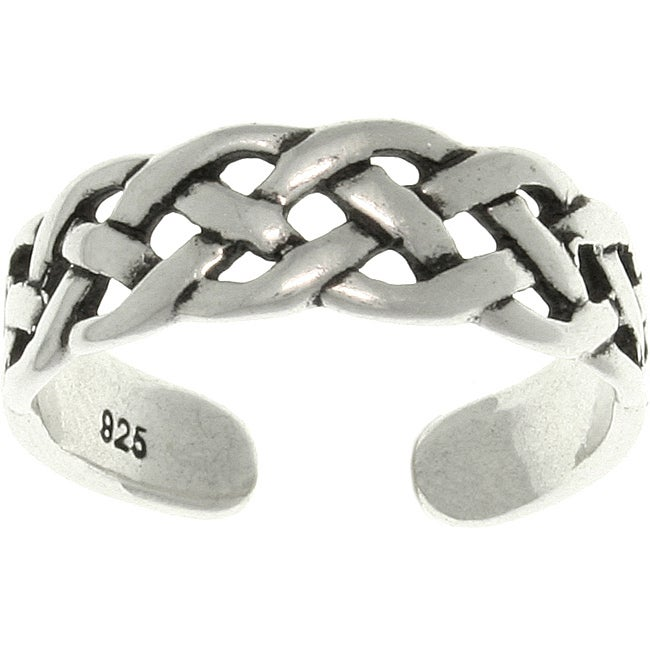 Carolina Glamour Collection Open Celtic Weave Sterling Silver Adjustable Toe Ring