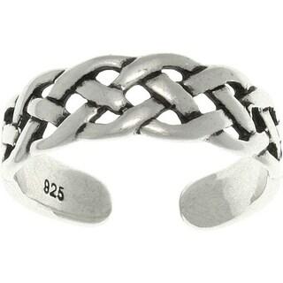 Open Celtic Weave Sterling Silver Adjustable Toe Ring