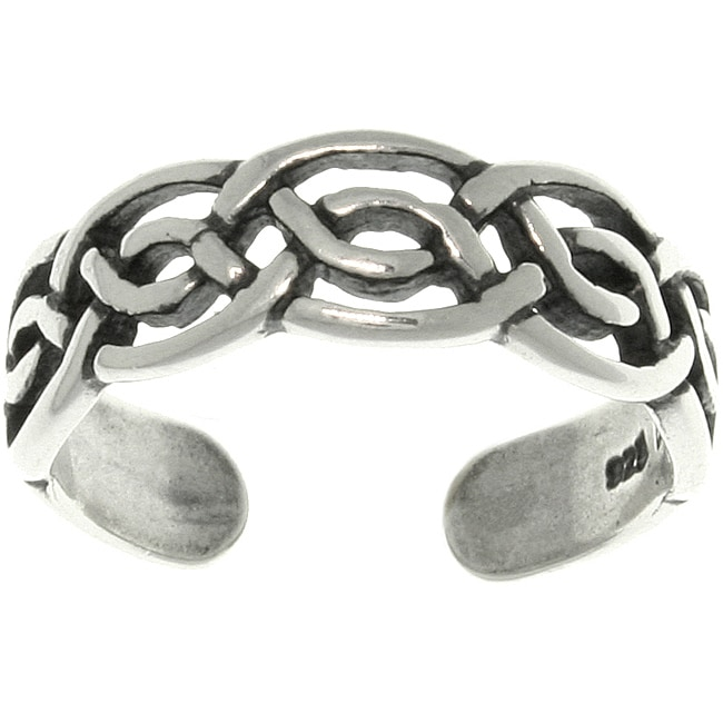 Carolina Glamour Collection Celtic Round Knot Sterling Silver Adjustable Toe Ring