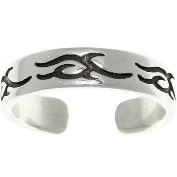 Women's Tribal Design Sterling Silver High-polish Adjustable Toe Ring