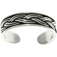 Weaved Sterling Silver Adjustable Toe Ring