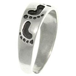Carolina Glamour Collection Footprints Sterling Silver Adjustable Toe Ring