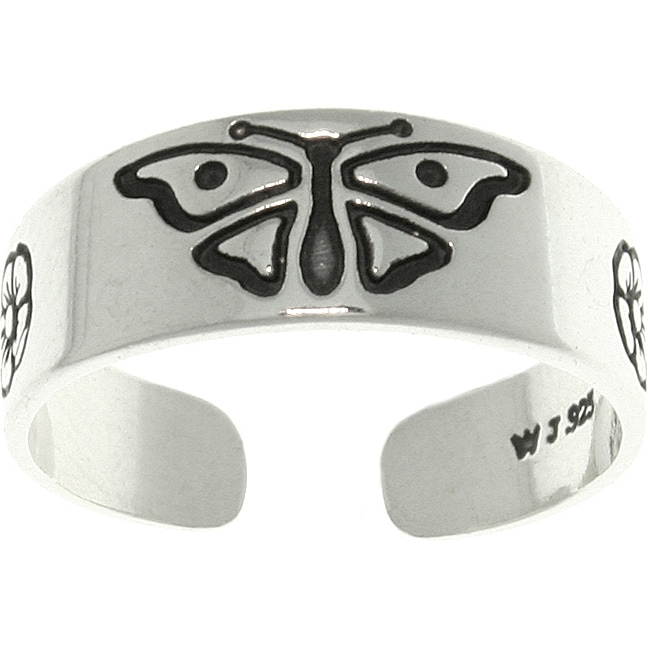 Carolina Glamour Collection Butterfly Sterling Silver Adjustable Toe Ring