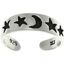 Carolina Glamour Collection Star and Moon Black/Silvertone Sterling Silver Adjustable Toe Ring