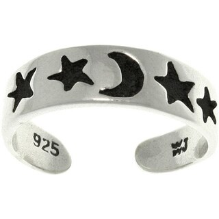 Star and Moon Black/Silvertone Sterling Silver Adjustable Toe Ring