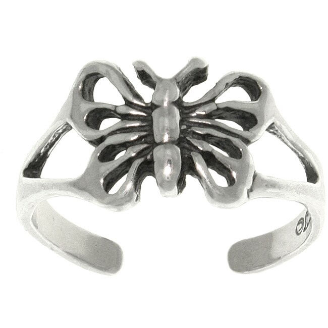 Carolina Glamour Collection Open Butterfly Sterling Silver Adjustable Toe Ring