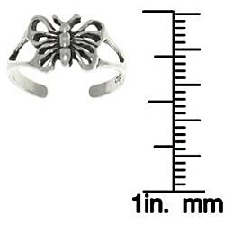 Carolina Glamour Collection Open Butterfly Sterling Silver Adjustable Toe Ring - Thumbnail 2