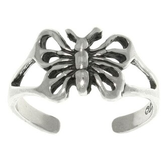 Open Butterfly Sterling Silver Adjustable Toe Ring