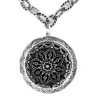 Antiqued Large Oxidized Silver Locket with Mirror Pendant Necklace