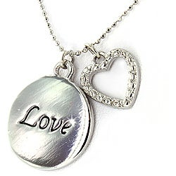Polished Silvertone 'Love' and Crystal Heart Pendant Necklace