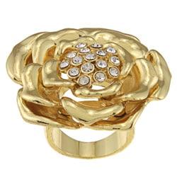 Goldtone Crystal Center Rose Cocktail Ring