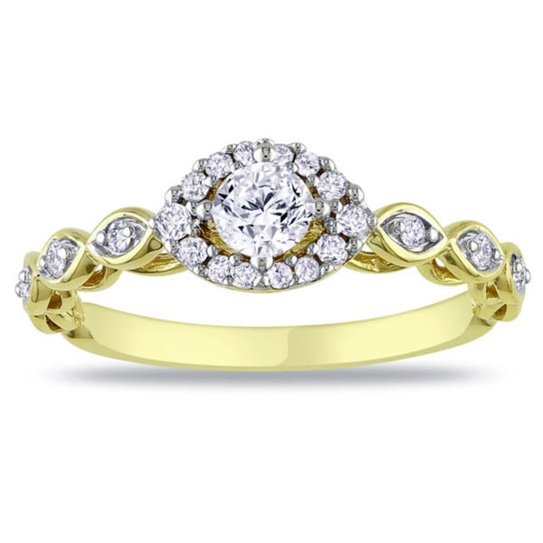 Miadora 10k Yellow Gold 1/2ct TDW Diamond Engagement Ring