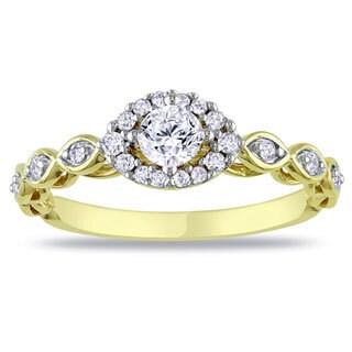 Miadora 10k Yellow Gold 1/2ct TDW Diamond Engagement Ring