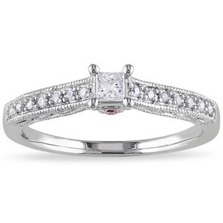 Miadora 10k Gold 1/4ct TDW Diamond and Pink Sapphire Ring