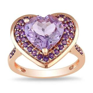 Miadora Pink Silver Amethyst and Rose de France Heart Ring