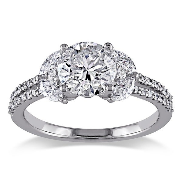 Miadora Signature Collection 18k White Gold 1 3/4ct TDW Round and Marquise Diamond Ring (H-I, I1-I2)