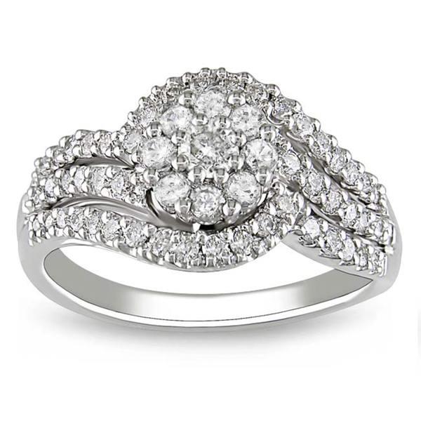 Miadora 10k White Gold 3/4ct TDW Diamond Ring