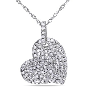 Miadora 14k White Gold 1/2ct TDW Diamond Heart Necklace (G-H, I1-I2)
