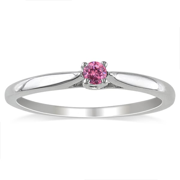 Miadora Sterling Silver 1/10ct TDW Round Pink Diamond Solitaire Ring