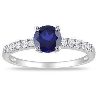Miadora 10k Gold Created Sapphire and 1/4ct TDW Diamond Ring (G-H, I2)|https://ak1.ostkcdn.com/images/products/6337558/Miadora-10k-Gold-Created-Sapphire-and-1-4ct-TDW-Diamond-Ring-G-H-I2-P13960169.jpg?impolicy=medium