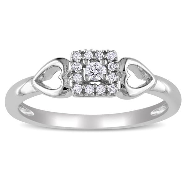 Miadora 10k White 1/10ct TDW Diamond Heart Promise Ring (G-H, I2-I3)