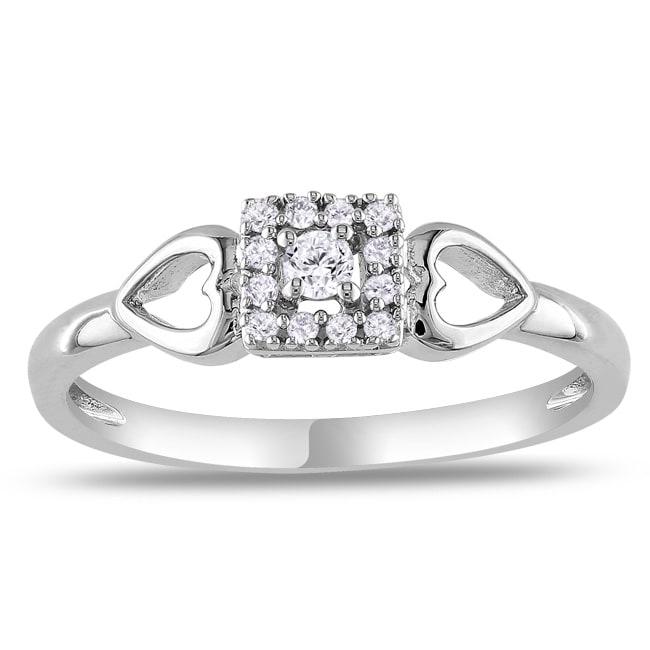 Miadora Sterling Sliver 1/10ct TDW Diamond Heart Ring (G-H, I2-I3)