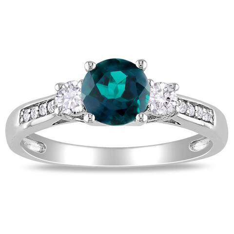 Miadora 10k White Gold Created Emerald and Sapphire Diamond Accent Ring