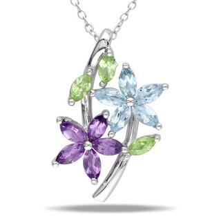Miadora Sterling Silver Amethyst Peridot and Blue Topaz Fashion Necklace
