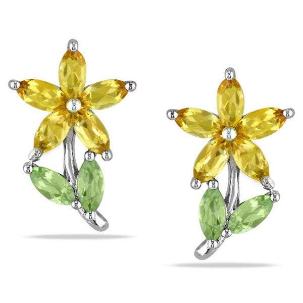 Miadora Sterling Silver Marquise-cut Peridot and Citrine Stud Earrings