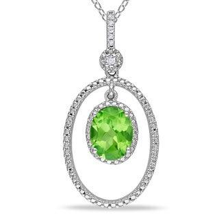 Miadora Sterling Silver Peridot and Diamond Accent Necklace