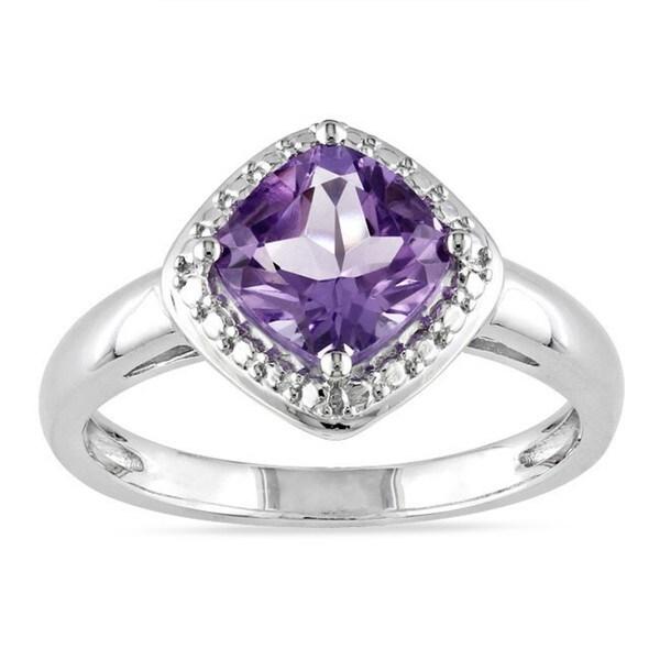 Miadora Sterling Silver Cushion-cut Birthstone Ring