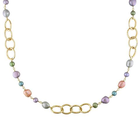 Miadora Brass FW Multicolored Pearl Brushed Link Necklace (6-10 mm)