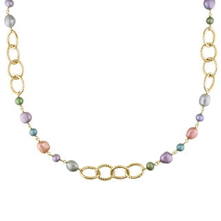M by Miadora Brass FW Multicolored Pearl Brushed Link Necklace (6-10 mm)