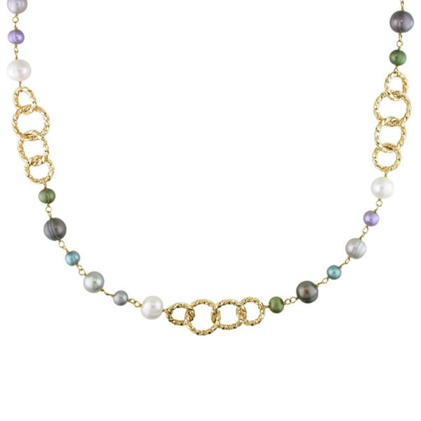 Miadora Goldtone Multicolored Pearl Brushed Link Necklace (6-10 mm)
