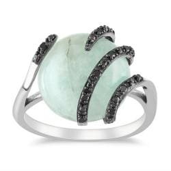 Miadora Sterling Silver Milky Aquamarine Black Diamond Ring