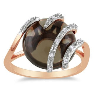 Miadora Pink Silver Smokey Quartz and Diamond Accent Fashion Ring (G-H, I2)