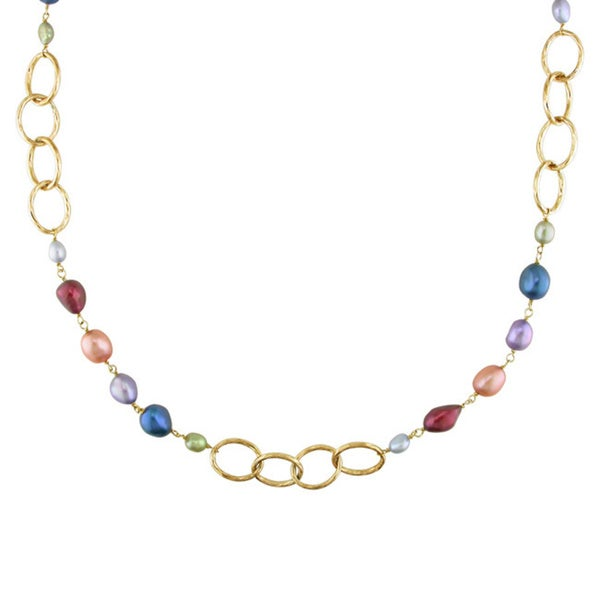 Miadora Goldtone Multicolored Pearl Brushed Link Necklace (5-11 mm)