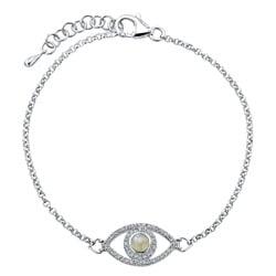Sterling Silver Moonstone and 1/4ct TDW Diamond Evil Eye Bracelet (J-K, I2-I3)